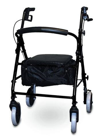 Soft Seat Aluminum Rollator with Curved Back, Black