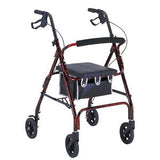 "6"" Wheel Aluminum Rollator with Loop Brakes, Black"