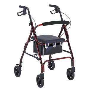 "PROFESSIONAL MEDICAL IMPORTS (PMI) 6"" Wheel Aluminum Rollator with Loop Brakes, Fuchsia - Crescent Medical Supply"