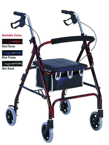 Flame Finish Aluminum Rollator with Loop Brakes, Flame Red