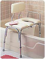 CAREX HEALTH BRANDS Vinyl Padded Bathtub Transfer Bench w/Cut Out,Pail - Crescent Medical Supply