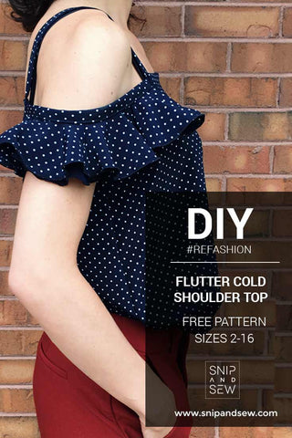 DIY/REFASHION- FLUTTER COLD SHOULDER TOP - free pattern