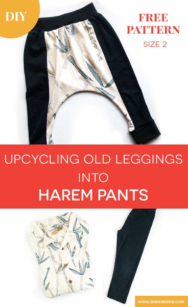 upcycling old leggings into harem pants