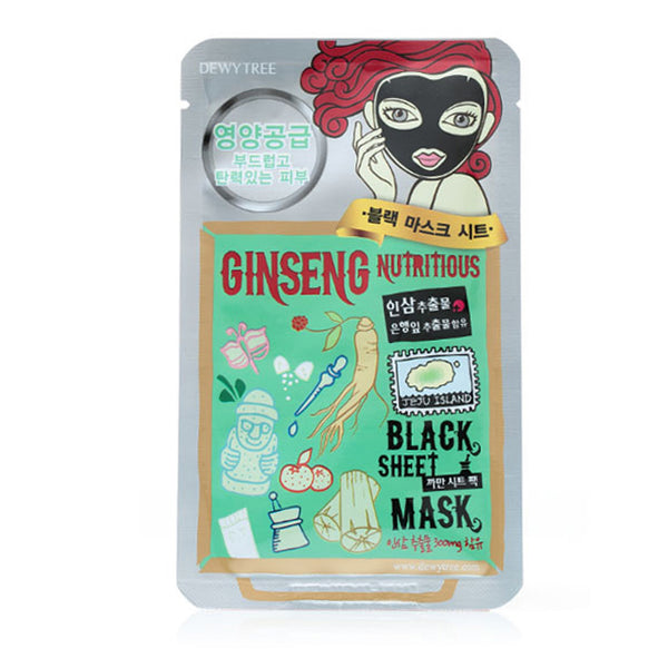 DEWYTREE Ginseng Nutritious Black Sheet Mask-10 Pcs