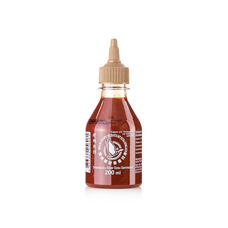 Chili-Sauce-Sriracha, scharf, mit extra Knoblauch, Squeeze Flasche, Flying Goose 200 ml