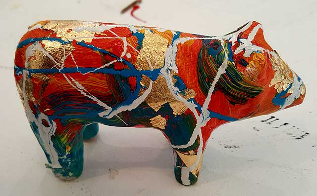 Asain Bling Pig 1 Painted 3D pig by Martin Bush 25% OFF marked price on checkout