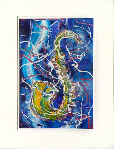 Jazz Sax Blue Original Painting by Martin Bush Available and ready to send