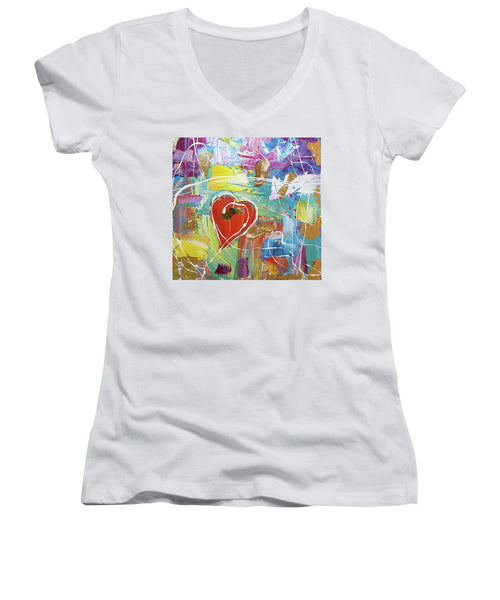 Temple Heart - Women's V-Neck T-Shirt