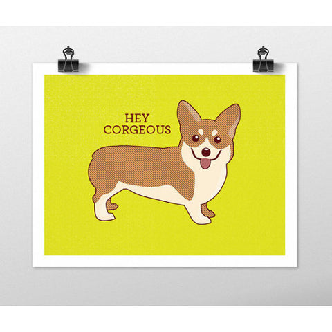 tiny bee cards corgi hey courgeous print