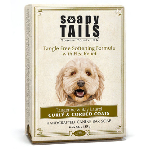 Soapy Tails Curly and Corded Coat Shampoo Bar: Tangerine and Bay Laurel