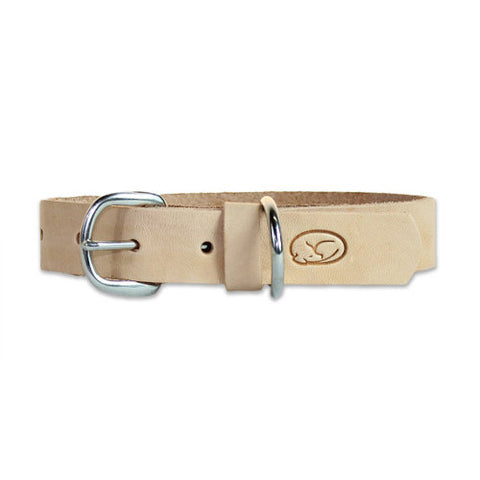 sleepy pup classic natural leather dog collar