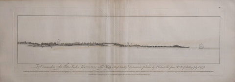 William Faden (1750-1836),  A Birds Eye View of Mount Pleasant..to the Eastern Part of Long Island (South Carolina)