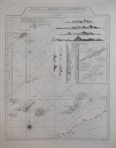 Thomas Jefferys (British, 17191-1771),  A Chart of the Madera and Canary Islands…[Includes 8 coastal profiles and Plan of El Rio Harbour… & Plan Puerto de Naos and Puerto Cavallo…]