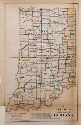 Department of the Interior, U.S. General Land Office, A Diagram of the State of Indiana