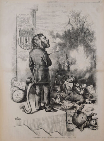 Thomas Nast (1840-1902), A general blow up--dead asses kicking a live lion