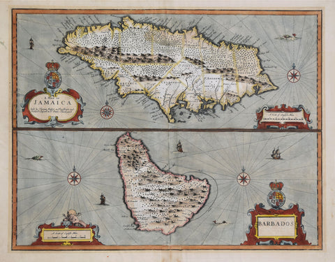John Speed (1552-1629), A Map of Jamaica/Barbados