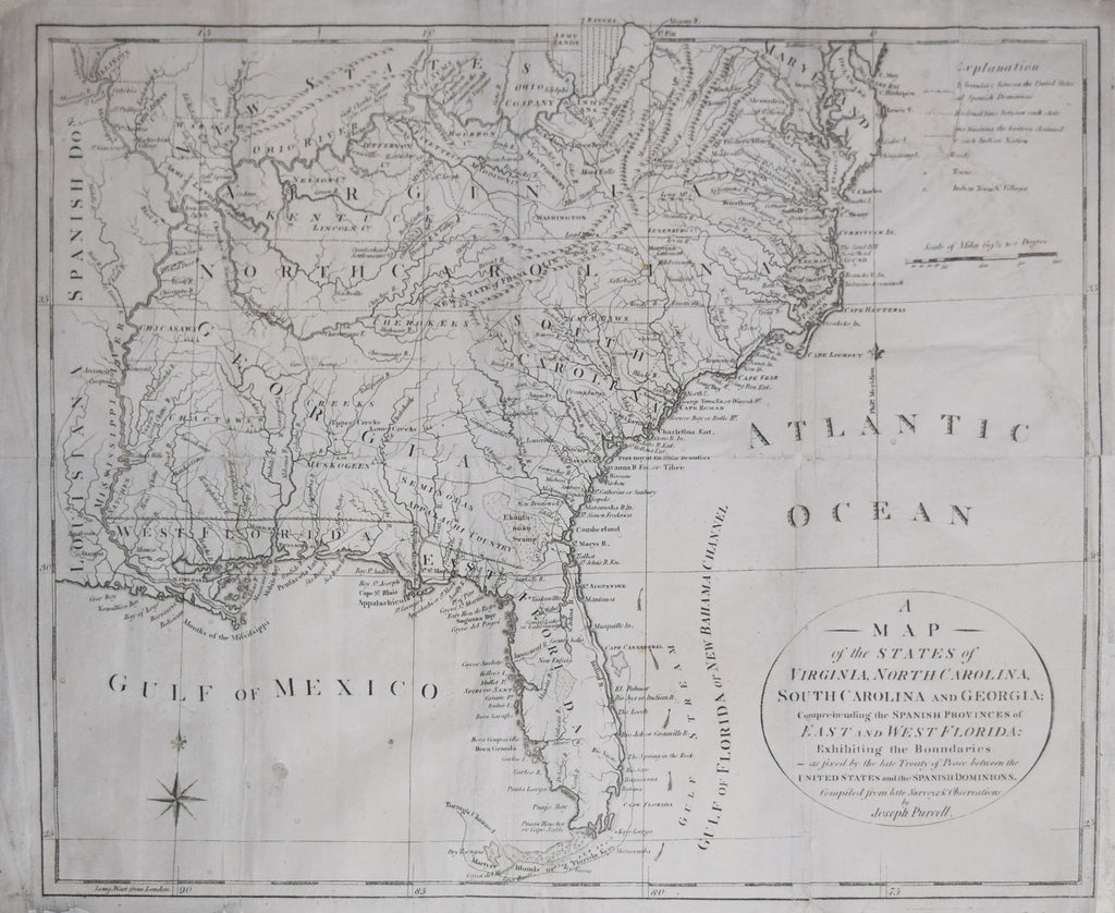 Joseph Purcell, A Map of the States of Virginia, North Carolina, South  Carolina and Georgia comprehending the Spanish Dominions
