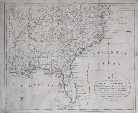 Joseph Purcell,  A Map of the States of Virginia, North Carolina, South Carolina and Georgia comprehending the Spanish Dominions...