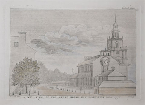 James Trenchard (1747-, After Charles Wilson Peale (1741-1827), A N.W. view of the state house in Philadelphia taken 1778