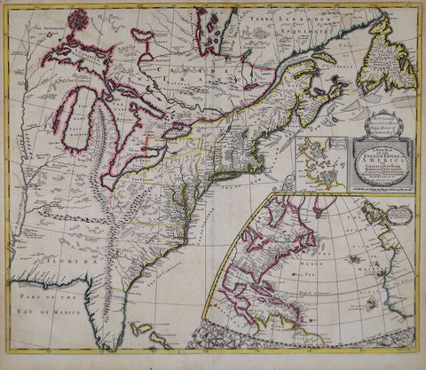 Robert Morden (English, fl. 1669-1703) & John Senex (english, 1678-1740), A New Map of the English Empire...[with an inset maps of Boston Harbour and Coasts & Isles of Europe, Africa and America]