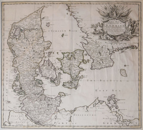 John Senex (1678-1740),  A New Map of the Kingdom of Denmark
