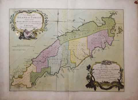 Thomas Kitchin (1719-1784), A new map of the island of Tobago shewing all the rocks, shoals and soundings Engraved from an actual survey by Thos. Kitchin