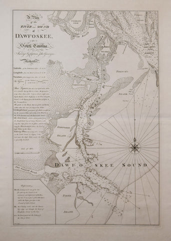 Thomas Jefferys (1719-1771) and William Faden (1749-1836),  A Plan of the River and Sound of D'Awfoskee in South Carolina. Survey'd by Captain John Gascoigne...Batley, sculp.