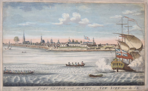 John Carwitham (Fl. 1723-1742), A View of Fort George with the City of New York from Southwest (depicts New York from 1731-36)