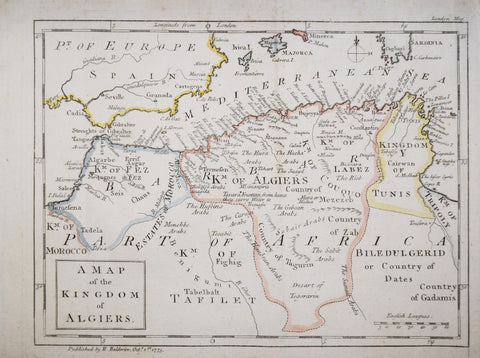 London Magazine, A Map of the Kingdom of Algiers