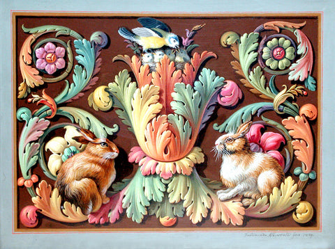 Ferdinando Albertolli (Italian, 1781-1844), Decorative Design with a Bird's Nest and Rabbits among Scrolling Foliage