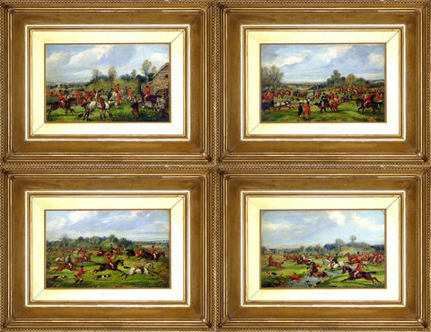 Samuel Alken Jnr. (1784 - Ca. 1825), A Set of 4: The Meet; Taking the Fence; Crossing the Brook; Gone to Ground