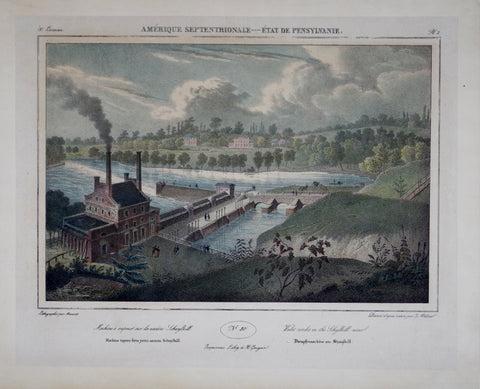 Jacques Gerard Milbert (1766-1840), After, Amerique Septentrionale- Water Works on the Schuylkill River