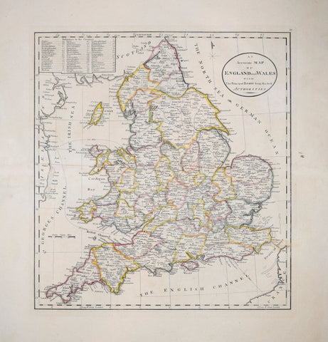 Matthew Carey (1760-1839), An Accurate Map of England and Wales with the Principal Roads…