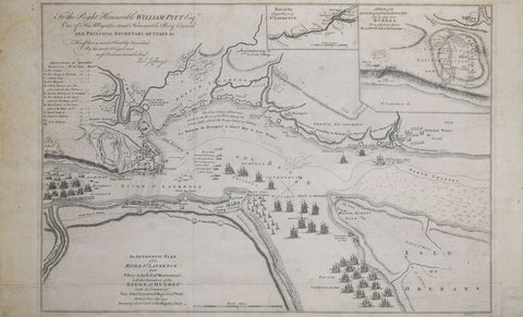 Thomas Jefferys (English, 1719-1771),  An authentic Plan of the River St. Laurence..with the operations of the Siege of Quebec…[with two inset maps Upper River of St. Laurence & Siege of Quebec]
