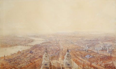 Thomas Allom (1804-1872),  View of London from the Steeple of St. Bride's Church, Fleet Street Looking Towards St. Paul's Cathedral