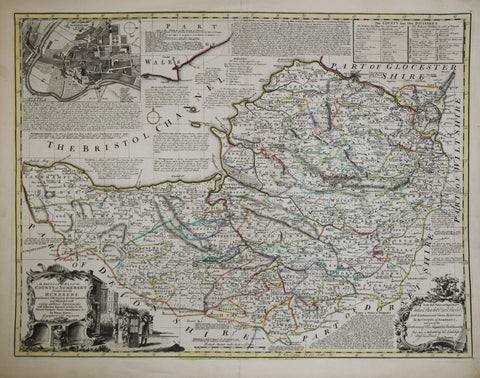 Emanuel Bowen (1694-1767),  An Improved Map of the County of Somerset…