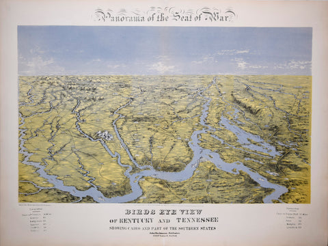 John Bachmann (1814-1896), Panorama of the Seat of War. Birds Eye View of Kentucky and Tennessee