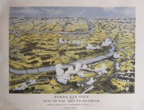 John Bachmann (1814-1896), Birds Eye View of the Seat of War Around Richmond. Showing the Battle on Chickahominy River