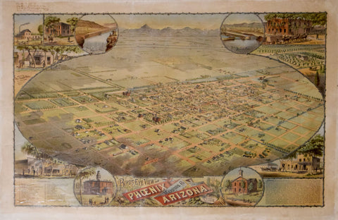 CJ Dyer (1846-1903), Bird's Eye View of Phoenix, Maricopa Co.,Arizona