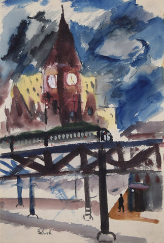 "Aaron Bohrod (1907-1992), [Study for the Lithograph ""L"" Train]"