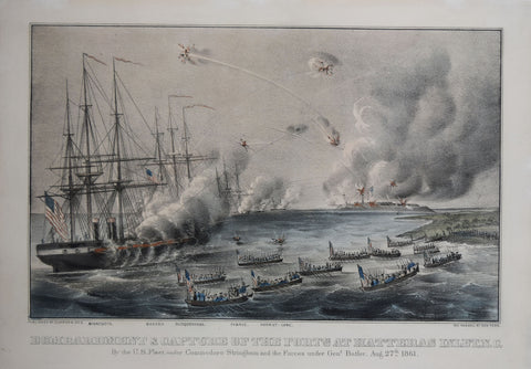 Nathaniel Currier (1813-1888) and James Merritt Ives (1824-1895), Bombardment and Capture of the Forts at Hatteras Inlet, NC