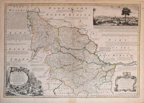 Emanuel Bowen, (British, 1694-1767), An Accurate Map of West Riding of York Shire, divided into  its Wapontakes…