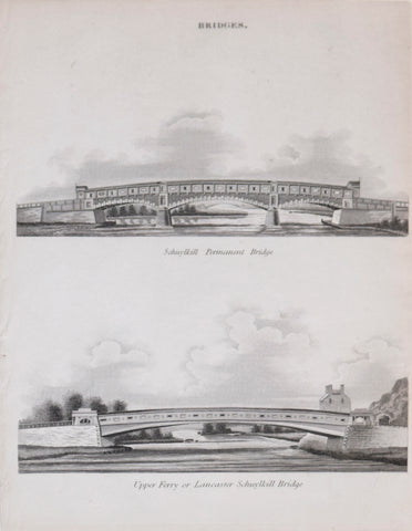 Abraham Rees (1743-1825), Bridges. Schuylkill Permanent Bridge and Upper Ferry or Lancaster Schuylkill Bridge