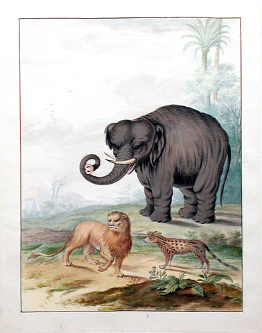 Johannes Bronckhorst (Dutch, 1648-1727) An Asian Elephant, a Lion and a Civet Cat in a Landscape