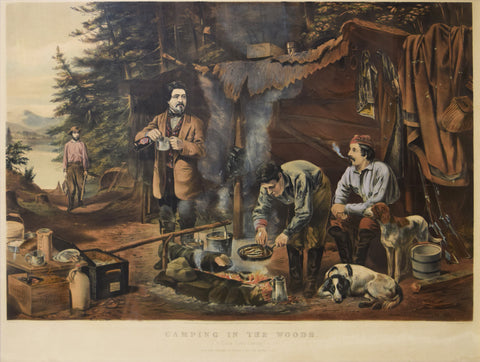 "Nathaniel Currier (1813–1888) and James Merritt Ives (1824–1895), Camping in the Woods. ""A Good Time Coming."""