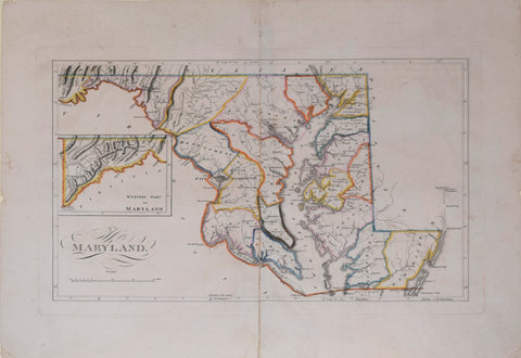 Mathew Carey (American, 1760-1839), [Maryland, with inset map of Western Part of Maryland]