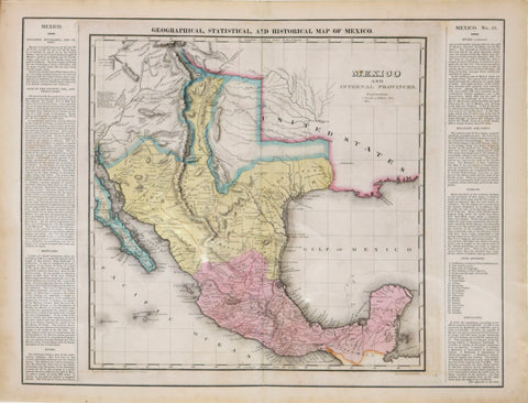 Henry Charles Carey (1793-1879) and Isaac Lea (1792-1886), Geographical, Statistical and Historical Map of Mexico, Mexico and Internal Provinces