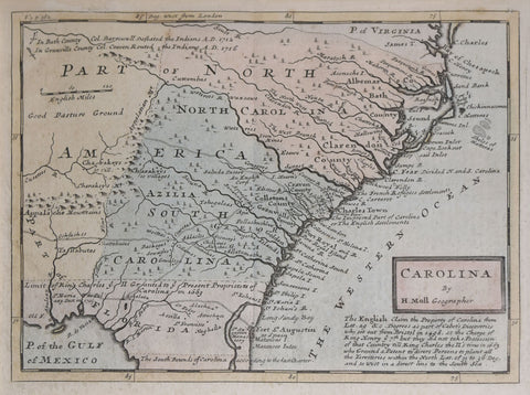 Herman Moll (1654?-1732), Carolina by H. Moll Geographer