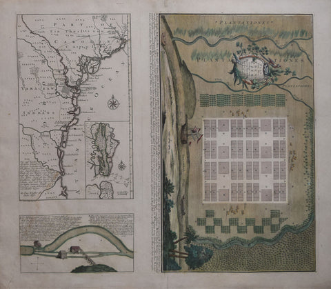 Matthew Seutter (1678-1756), Plan Von Neu Ebenezer..[with Part of Carolina and the Coast Line from Charleston to St. Augustine, Florida and inset Map of St. Simon's River, Great St. Simon's Island and Jekyl Isle]