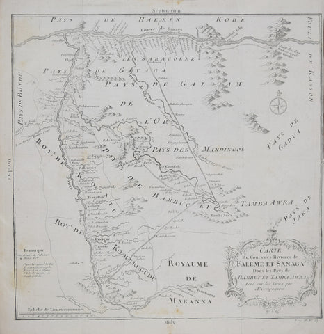 Jacques Nicolas Bellin (French, 1703-1772), Carte du Cours des Rivieres de Faleme et Sanaga dans les Pays de Banbuc et Tamba Awra..Mr. Compagnon {Part of Mali and Cameroon in West Africa]
